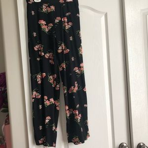 Floral Pink and Black Straight Leg Breezy Pants